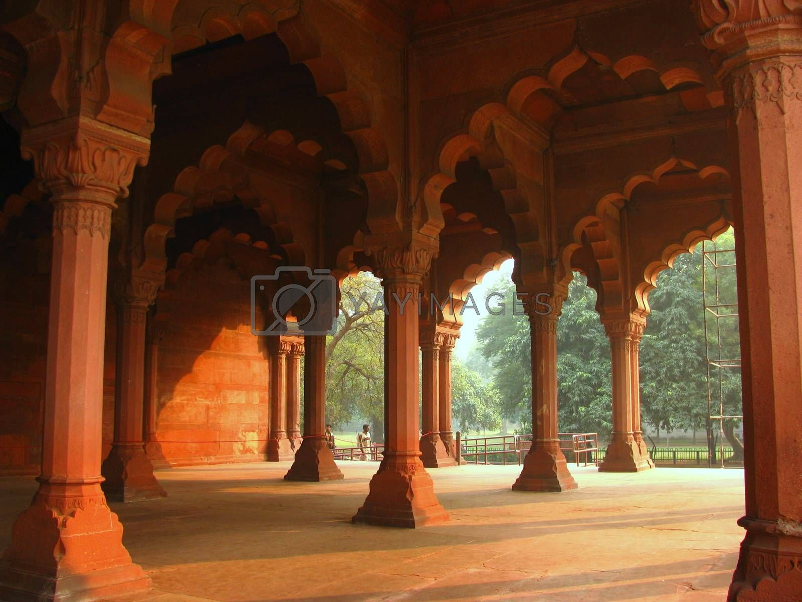 Hallway with pillers in Diwan-e-aam in Lal Qila ( Red Fort) in Delhi, India. On Independence Day every year Prime Minister of India hoists the National Flag from the Red Fort.