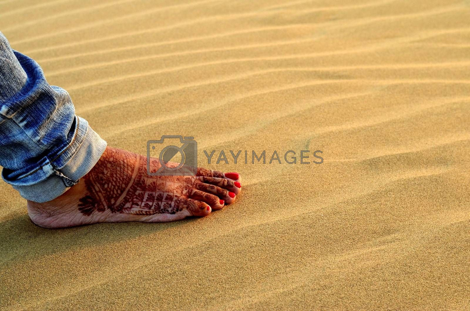 A newly married woman showing her foot with henna design in Sam Sand Dune, Thar desert, Jaisalmer, Rajasthan, India. Indian women apply henna on their feet and hands as a part of their wedding ritual
