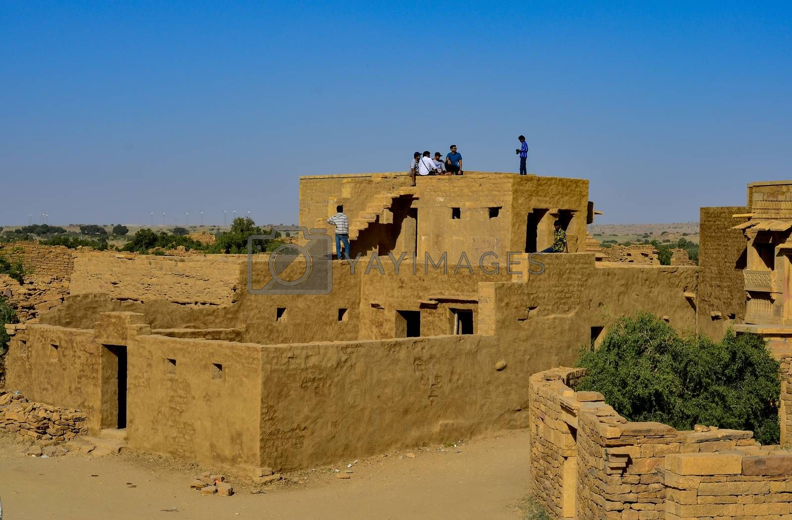 Rajasthan, India, 2020. House in the cityscape of abandoned town of Kuldhara near Jaisalmer on the way to Sam Sand Dunes. Around 13th century, once a prosperous village inhabited by Paliwal Brahmins