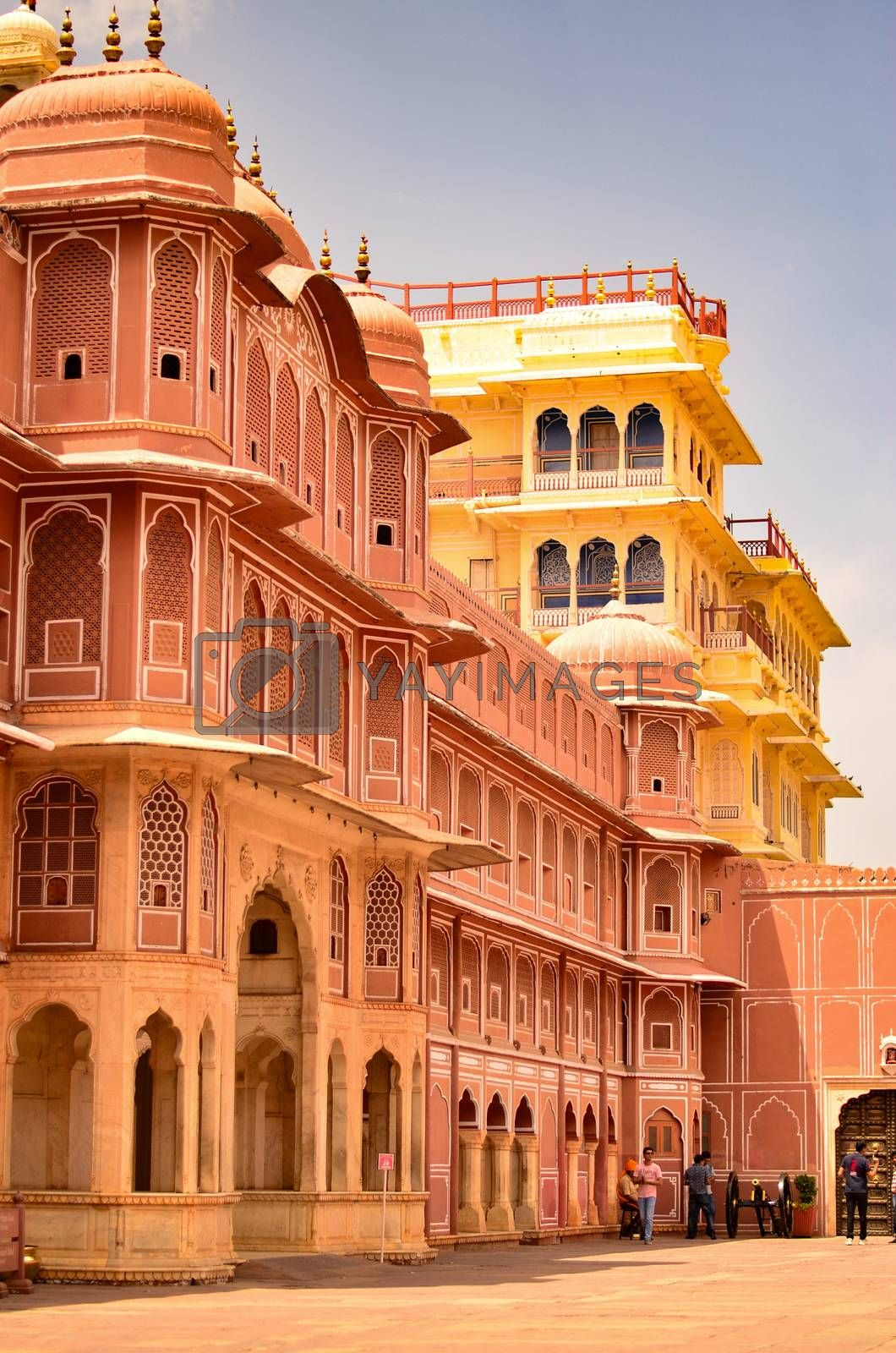Jaipur, Rajasthan, India, 2020. Section of City Palace, which includes the Chandra Mahal and Mubarak Mahal palaces and other buildings, is a palace complex in Jaipur.