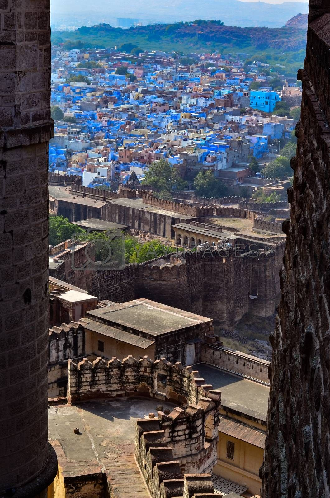 Aerial view of Jodhpur, the blue city showing the blue colored houses from Mehrangarh Fort, Jodhpur, Rajasthan, India