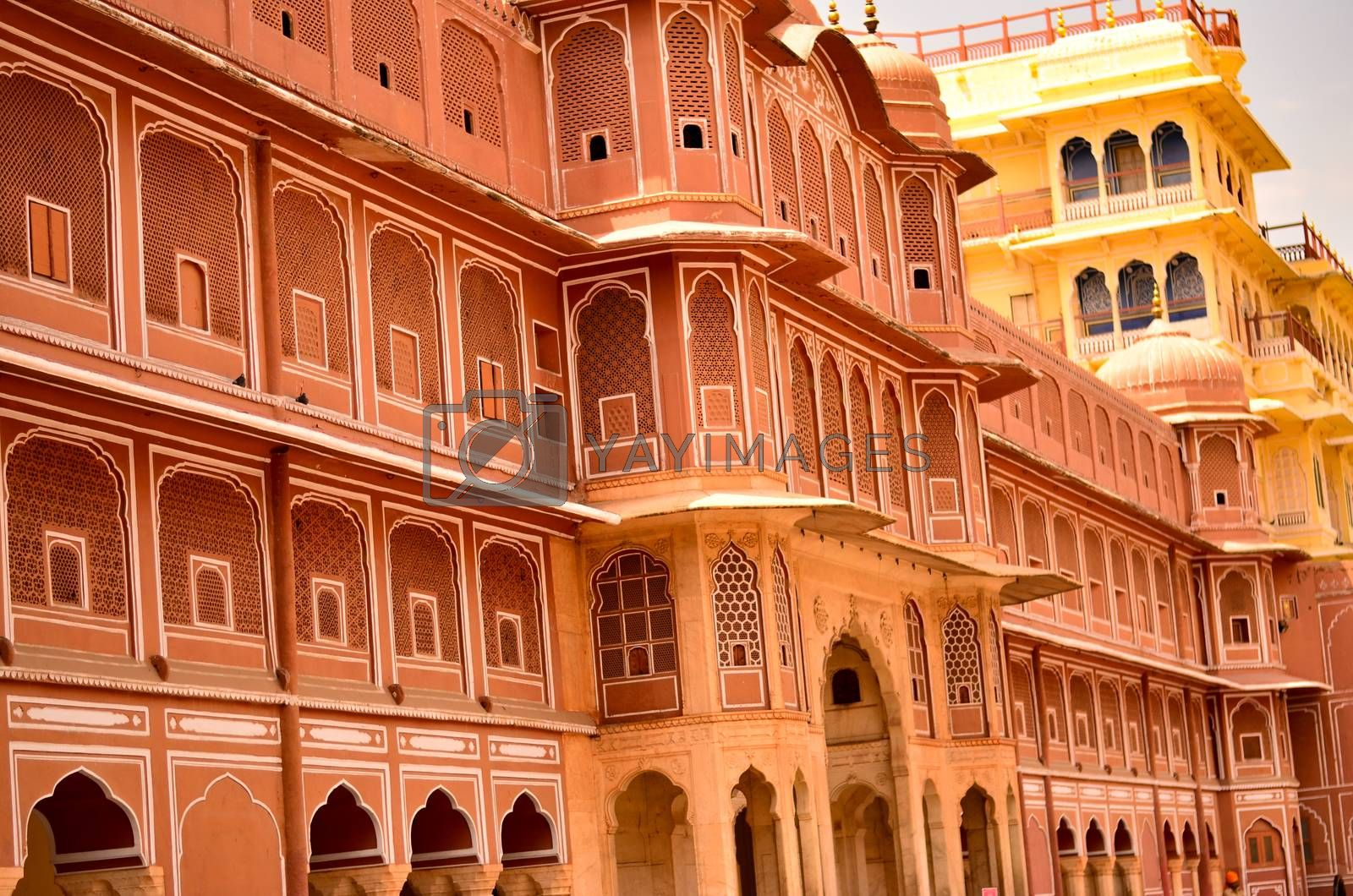 Wall section of City Palace, which includes the Chandra Mahal and Mubarak Mahal palaces and other buildings, is a palace complex in Jaipur, the capital of the Rajasthan, India.