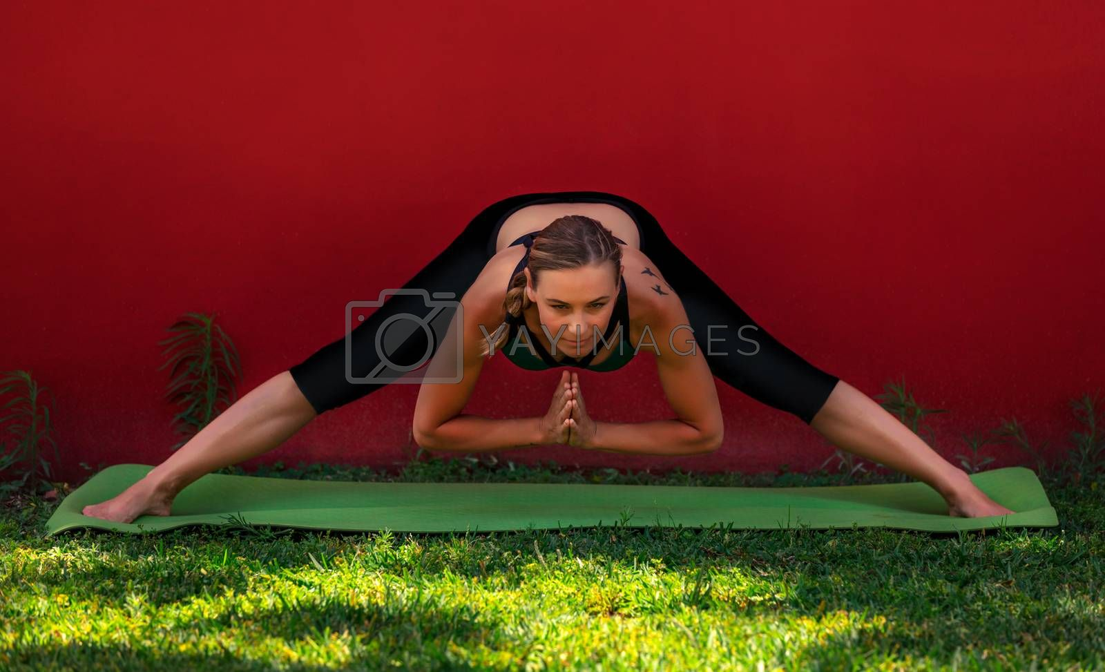Fit Female Stretching Outdoors. Yoga Practice at the Morning in the Park. Health of Body and Mind. Happy Healthy Lifestyle of Young People. Prasarita Padottanasana. Standing Wide-legged Forward Fold Pose