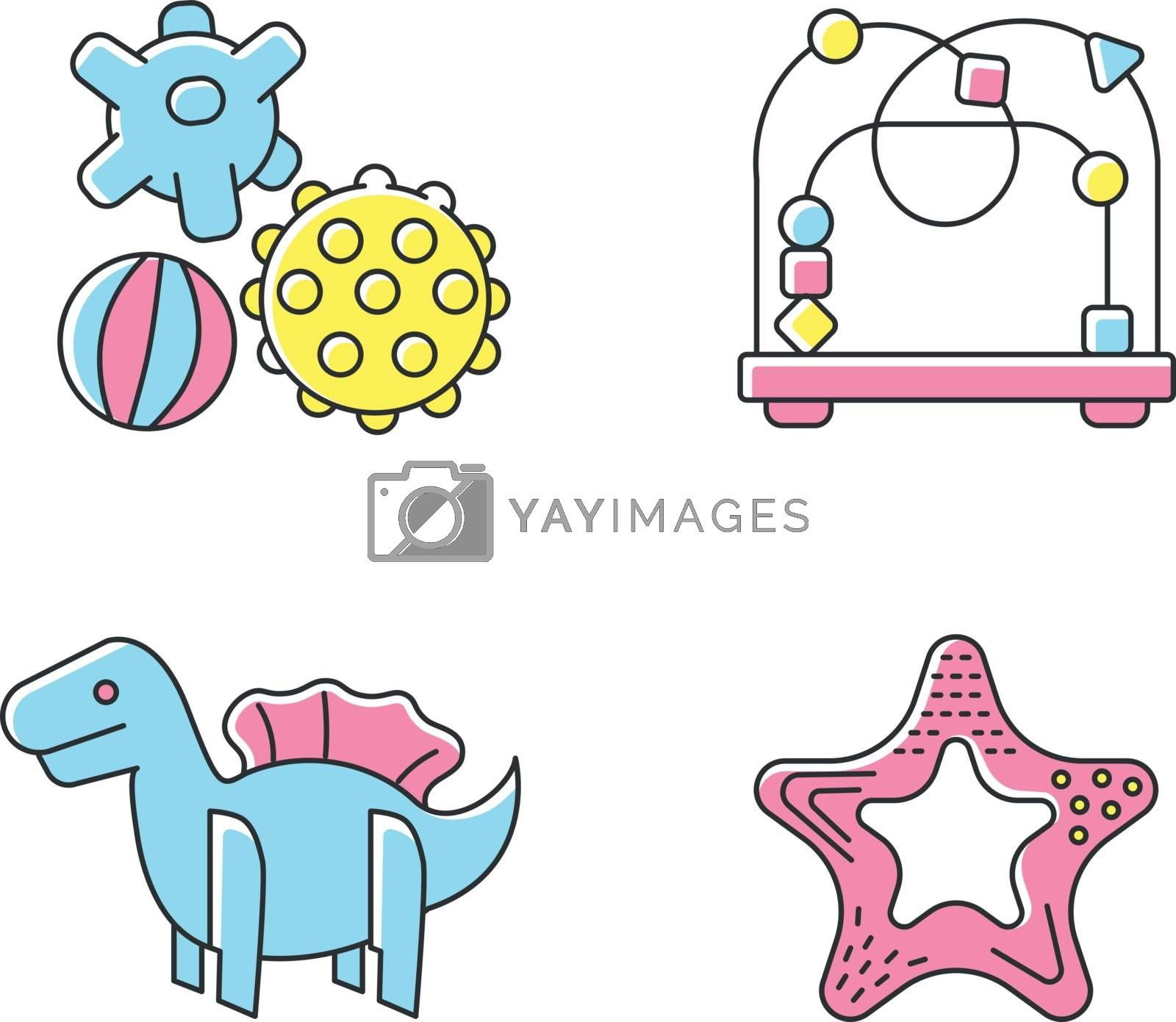 Children sensory toys RGB color icons set. Textured balls and bead maze. Fine and gross motor skills. Early childhood development. Kids amusement ideas. Isolated vector illustrations