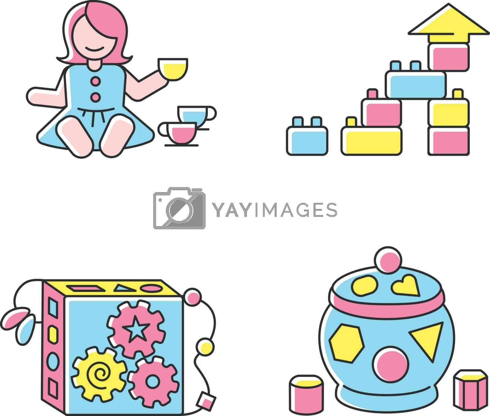 Sensory toys for toddlers RGB color icons set. Baby doll with tea set. Educational toys for children early development. Children amusement and activity ideas. Isolated vector illustrations