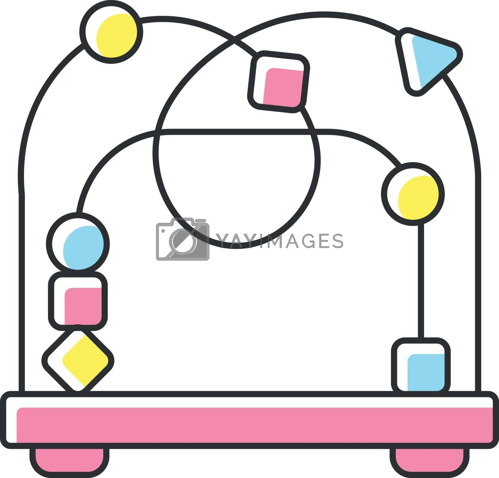 Bead maze toy RGB color icon. Roller coaster and labyrinth educational toys for kids. Shape and color recognition game. Infants amusement and activity ideas. Isolated vector illustration
