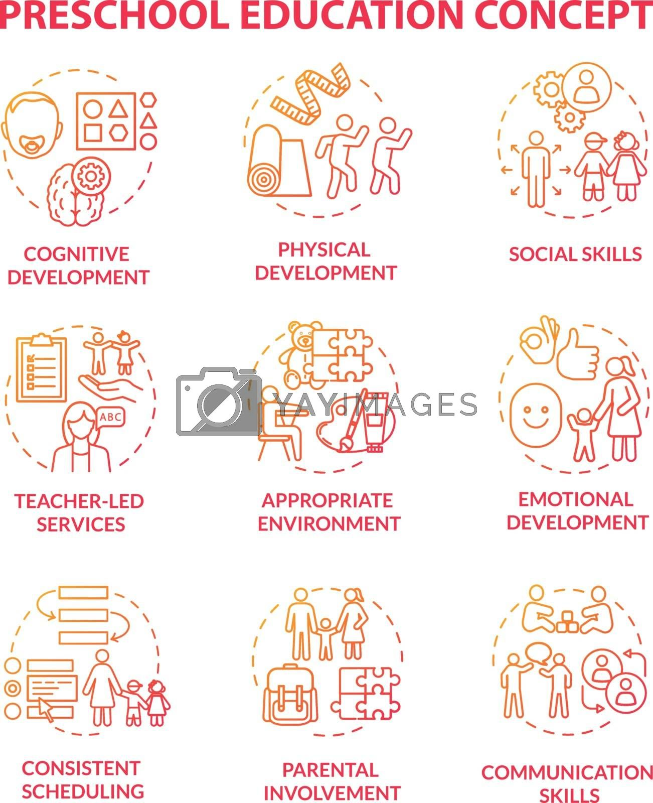 Toddlers preschool education concept icons set by bsd