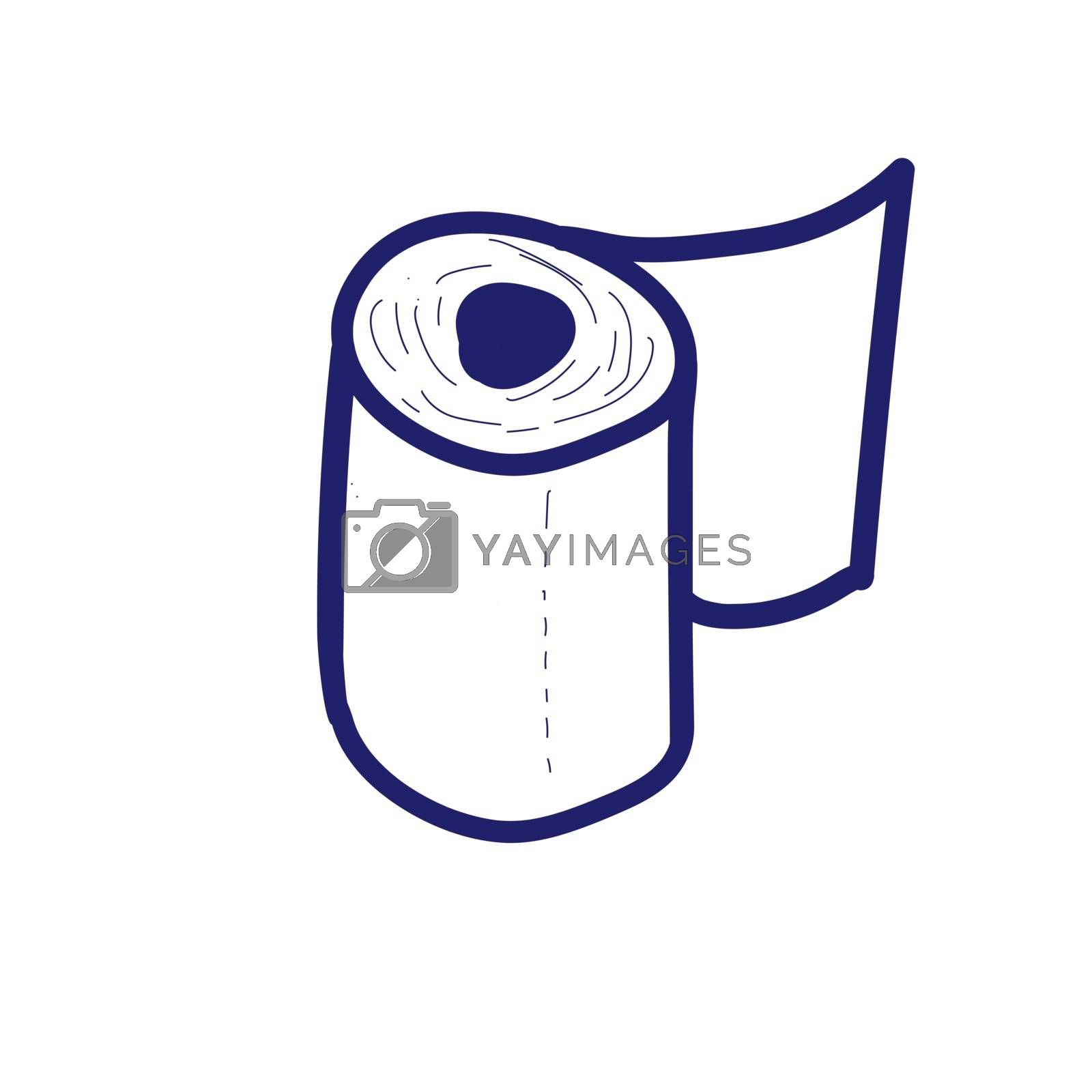 Doodle style toilet roll. Vector illustration with a blue line like ink ballpoint pen