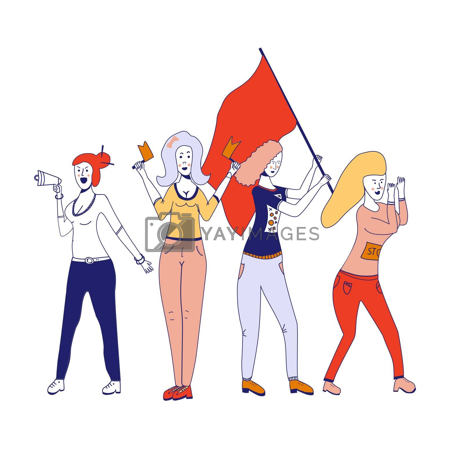 Female movements. Two woman empowerment, feminist demonstration, for women political rights. Crowd of protesting women with placards with inscriptions No and Protest. illustration