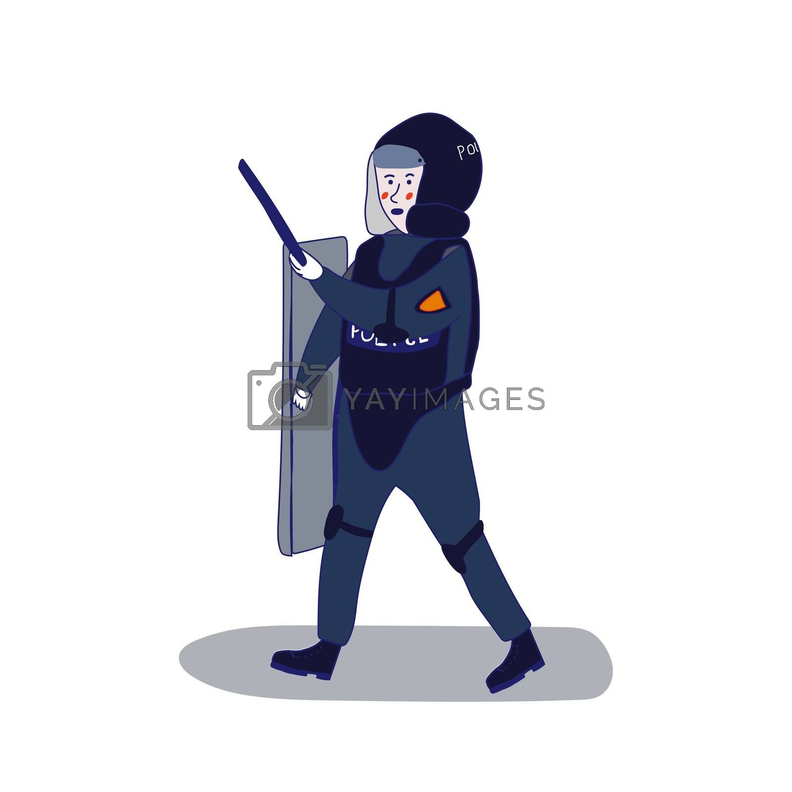 Uniformed police officer standing with a shield and a baton on a white background in cartoon style. illustration with a blue line