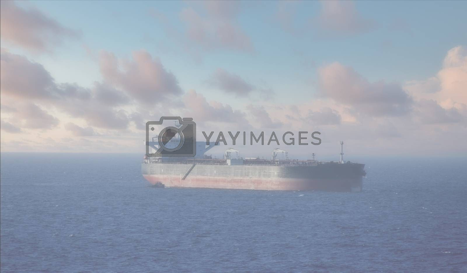 A Heavy Tanker waiting off shore in the mist