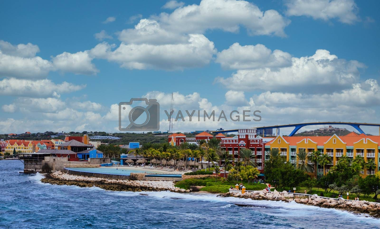 Colorful Shops and Resort On Coast of Curacao