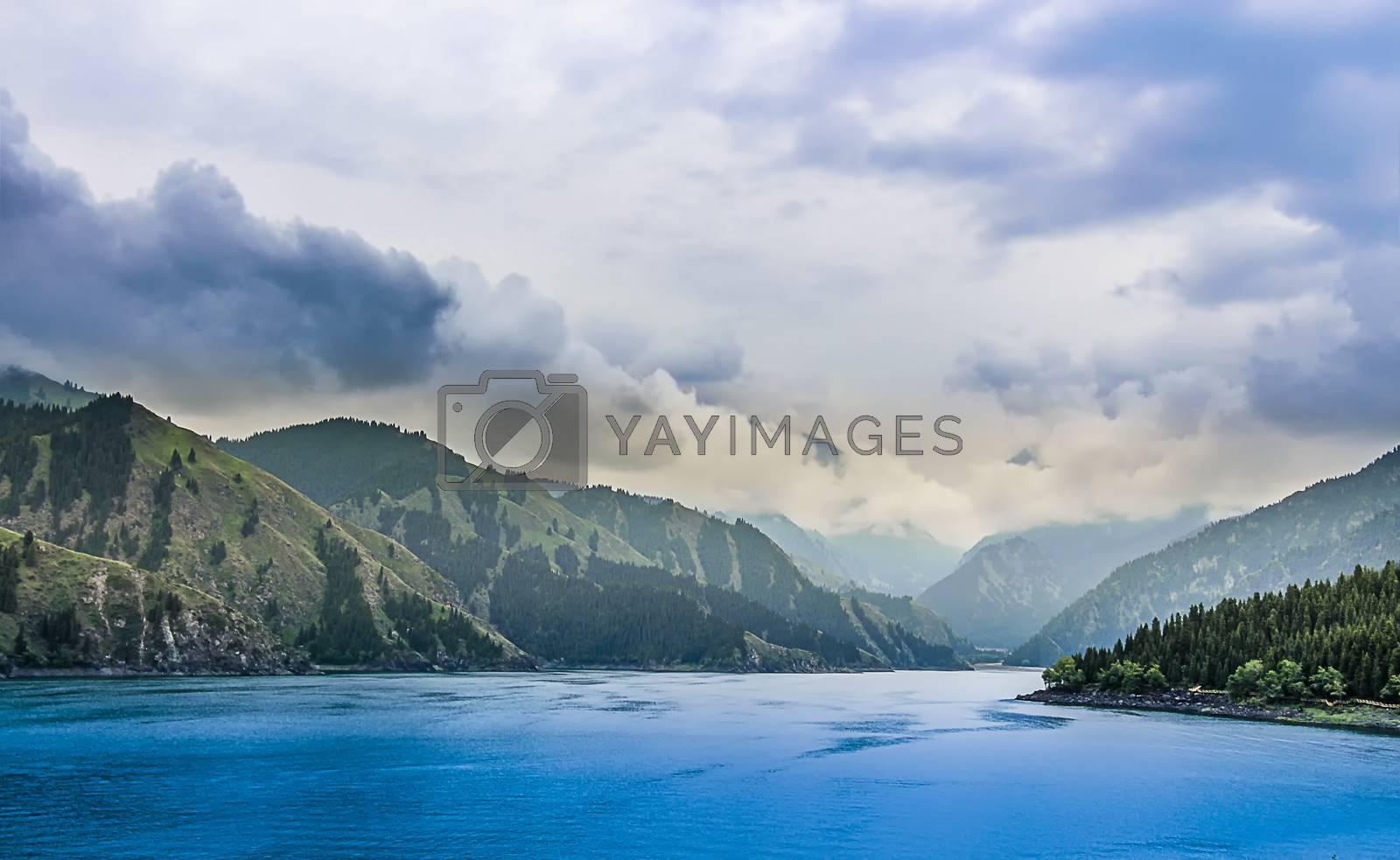 Tianchi is an alpine lake in Bogda Shan, Fukang City, Xinjiang, China