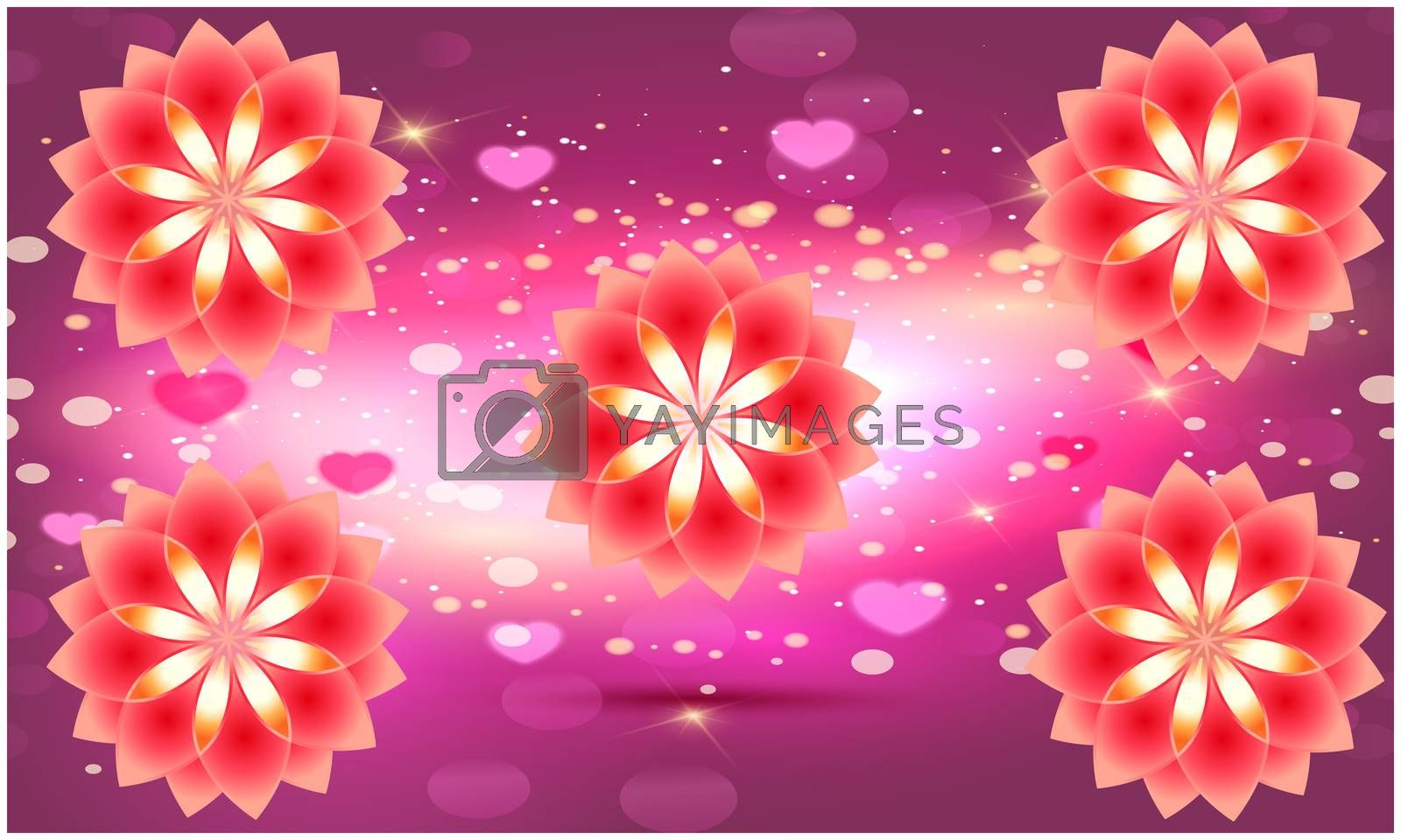 digital textile design of flowers on abstract background