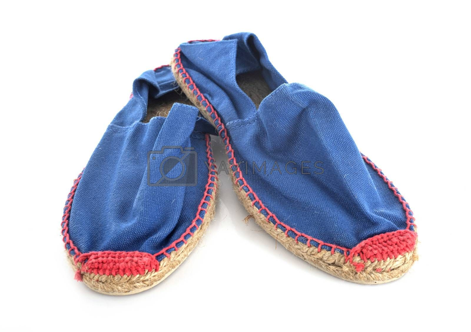 blue espadrille in front of white background