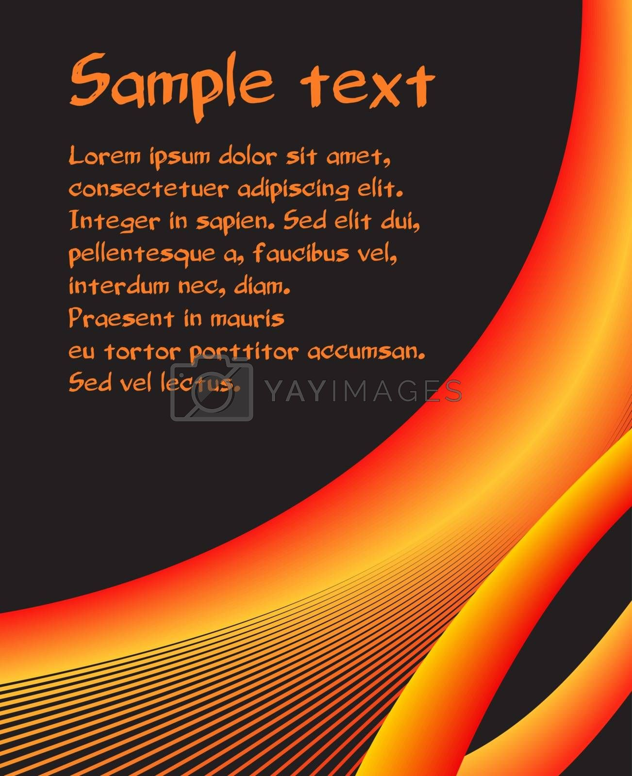 black orange and yellow curves vector abstract  background copy space sample text