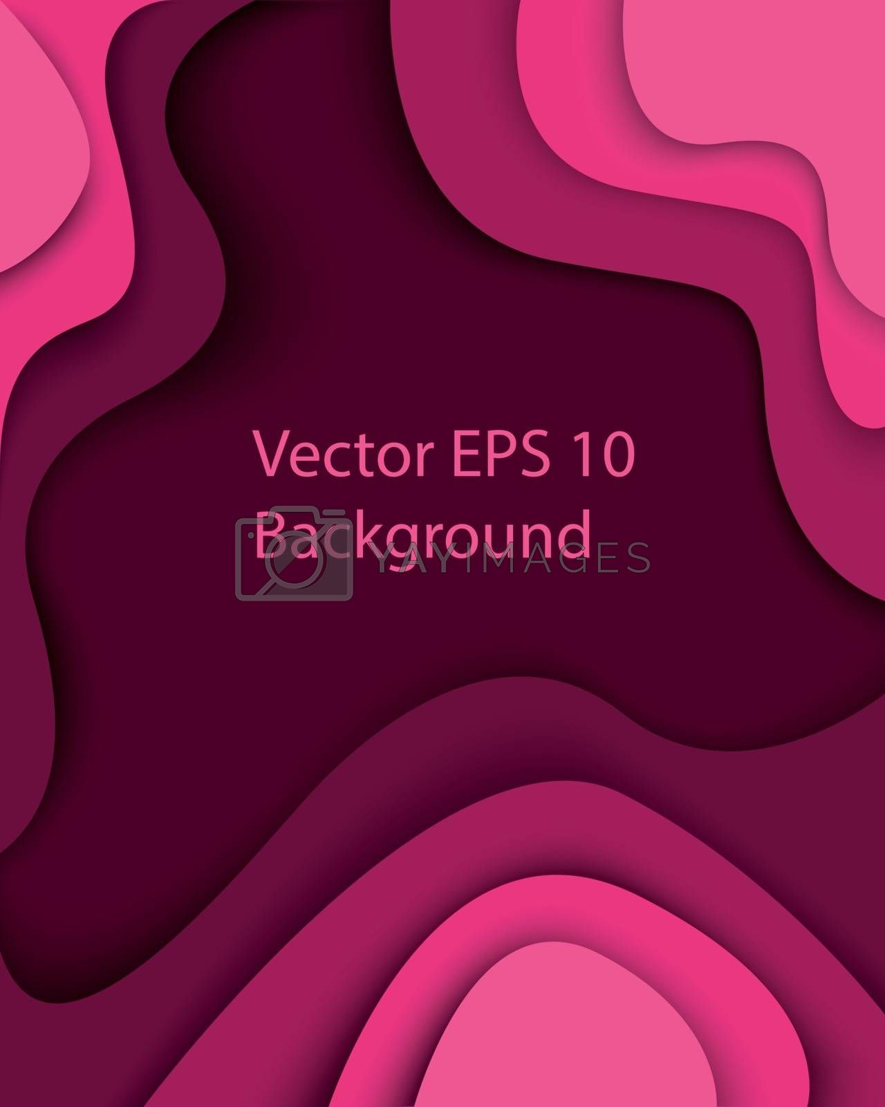 Pink purple paper cut modern abstract background with curved shapes with shadows. 3D abstract paper art style, design layout for business presentations, flyers, posters, prints, decoration, cards, brochure cover. Eps10 Vector illustration.