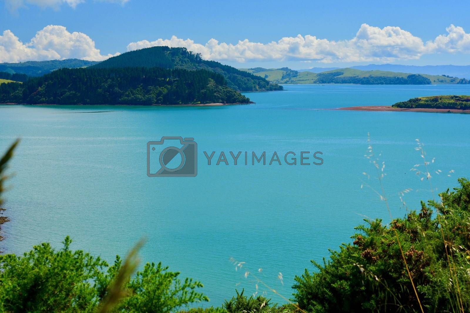 Beautiful seascape of New Zealand; ocean and shore; a small island far away