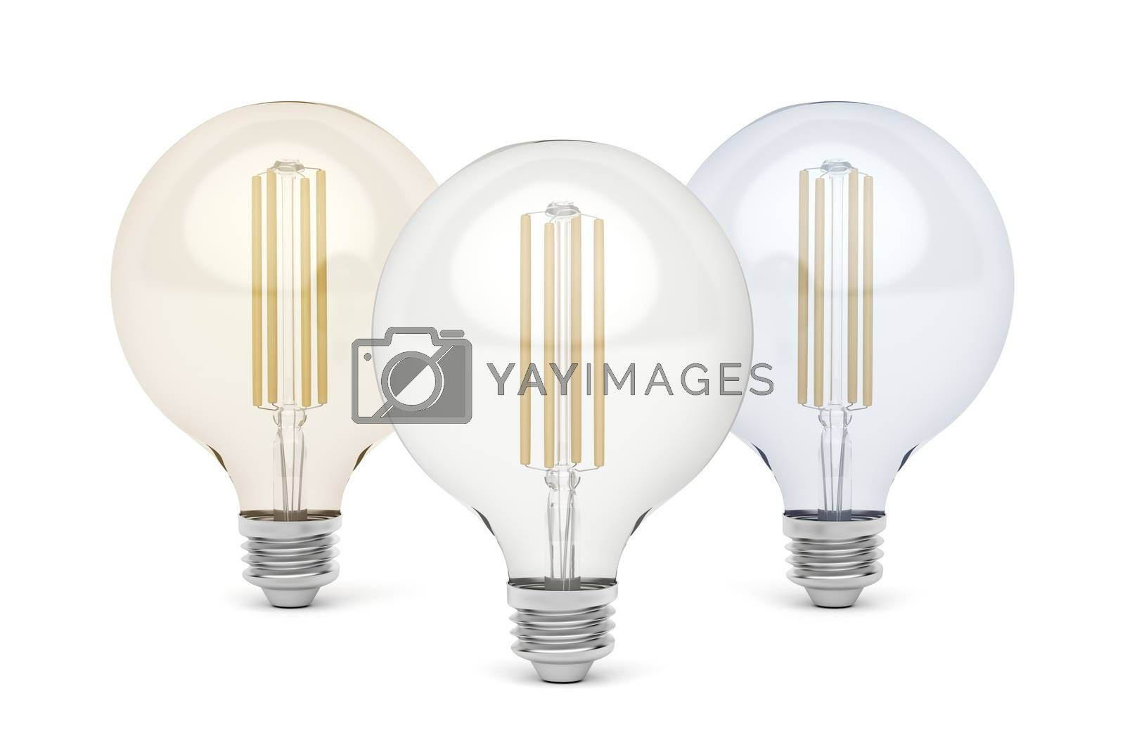 Three LED light bulbs with different light color temperature