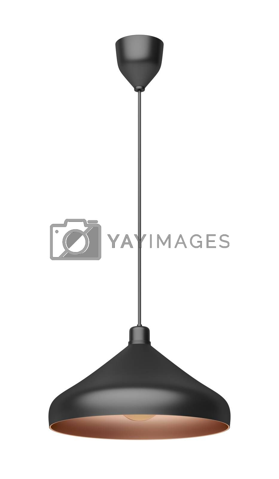 Modern pendant lamp with LED bulb, isolated on white background