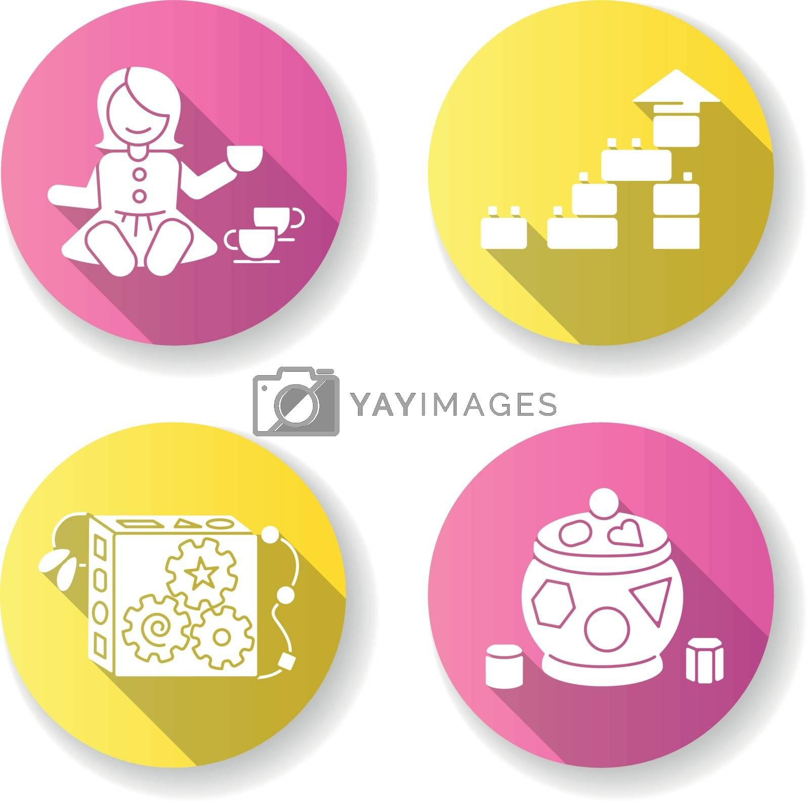 Sensory toys for toddlers flat design long shadow glyph icons set. Baby doll with tea set. Educational toys for children early development. Children amusement. Silhouette RGB color illustration