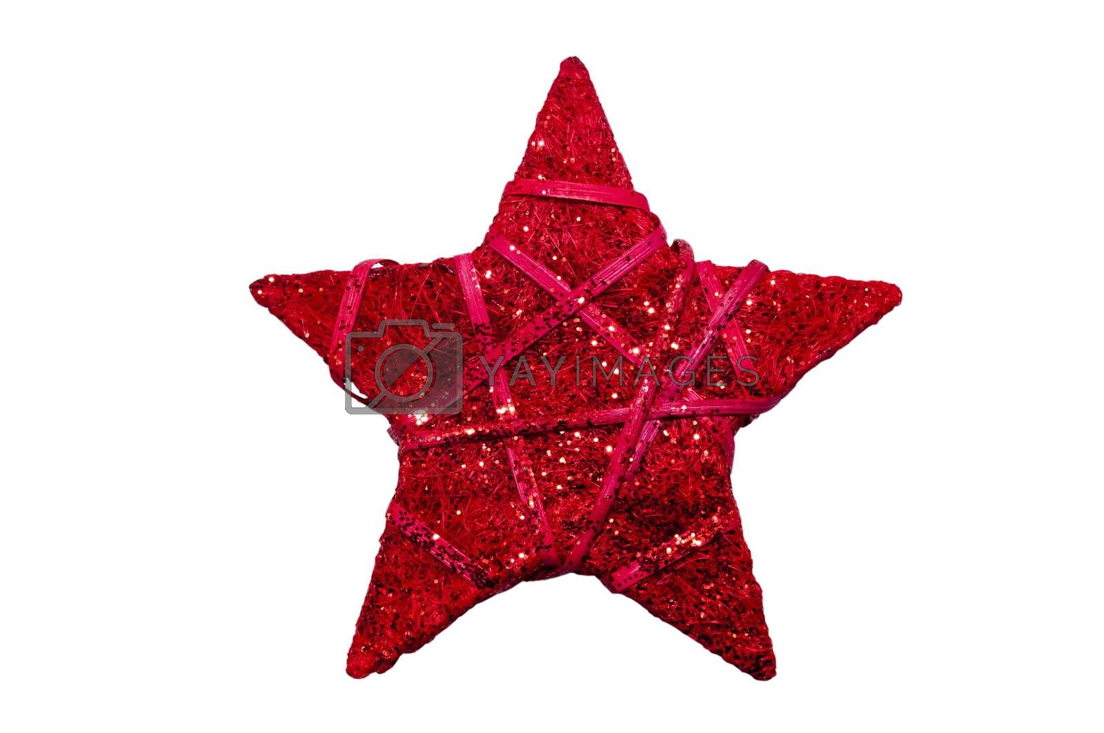 red Christmas star isolated on a white background