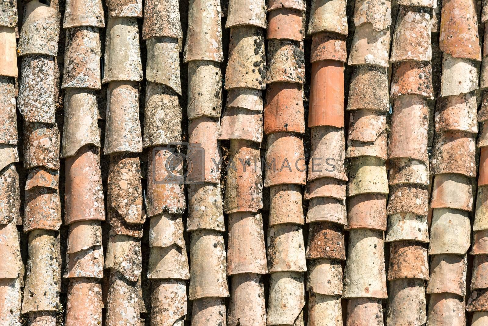 Background from old roof tiles seen in Gangi, Sicily