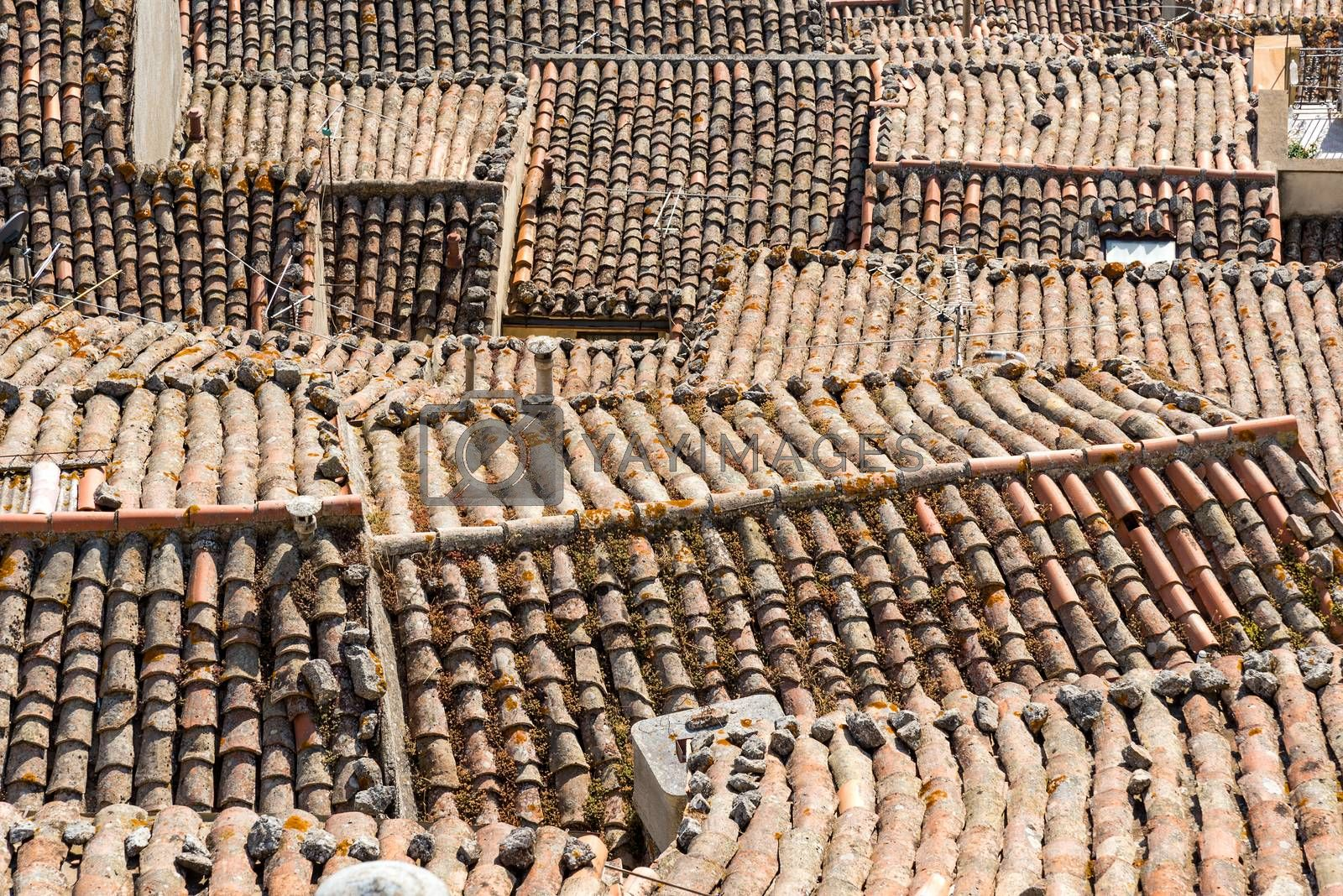 The roofs of the historic town of Gangi in Sicily