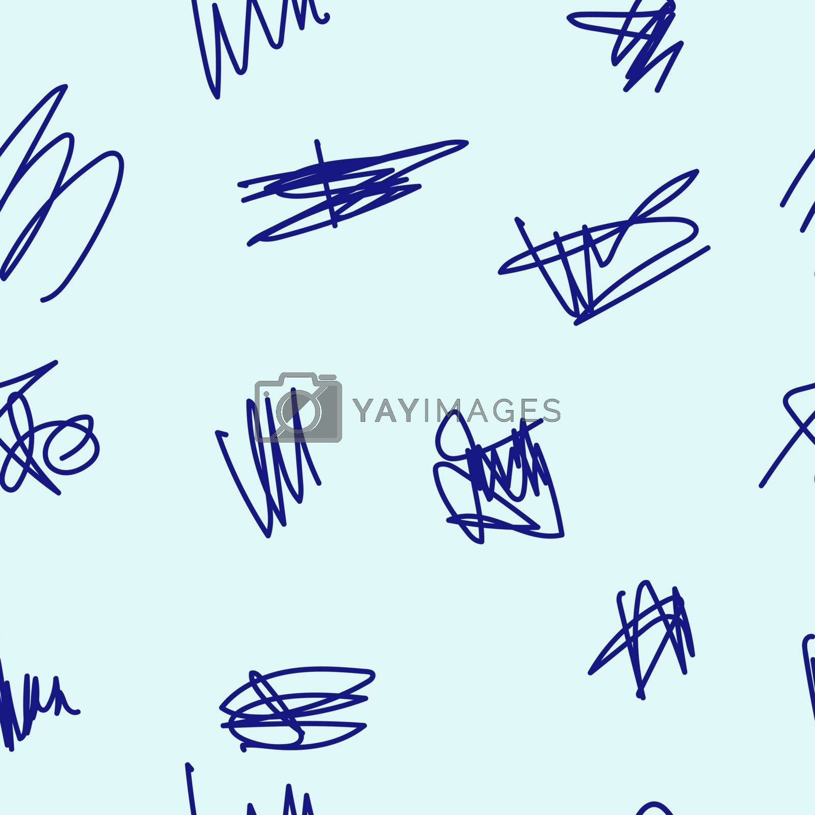 Seamless pattern of hand drawn doodle shapes, vector design elements. The scribble of a gel pen