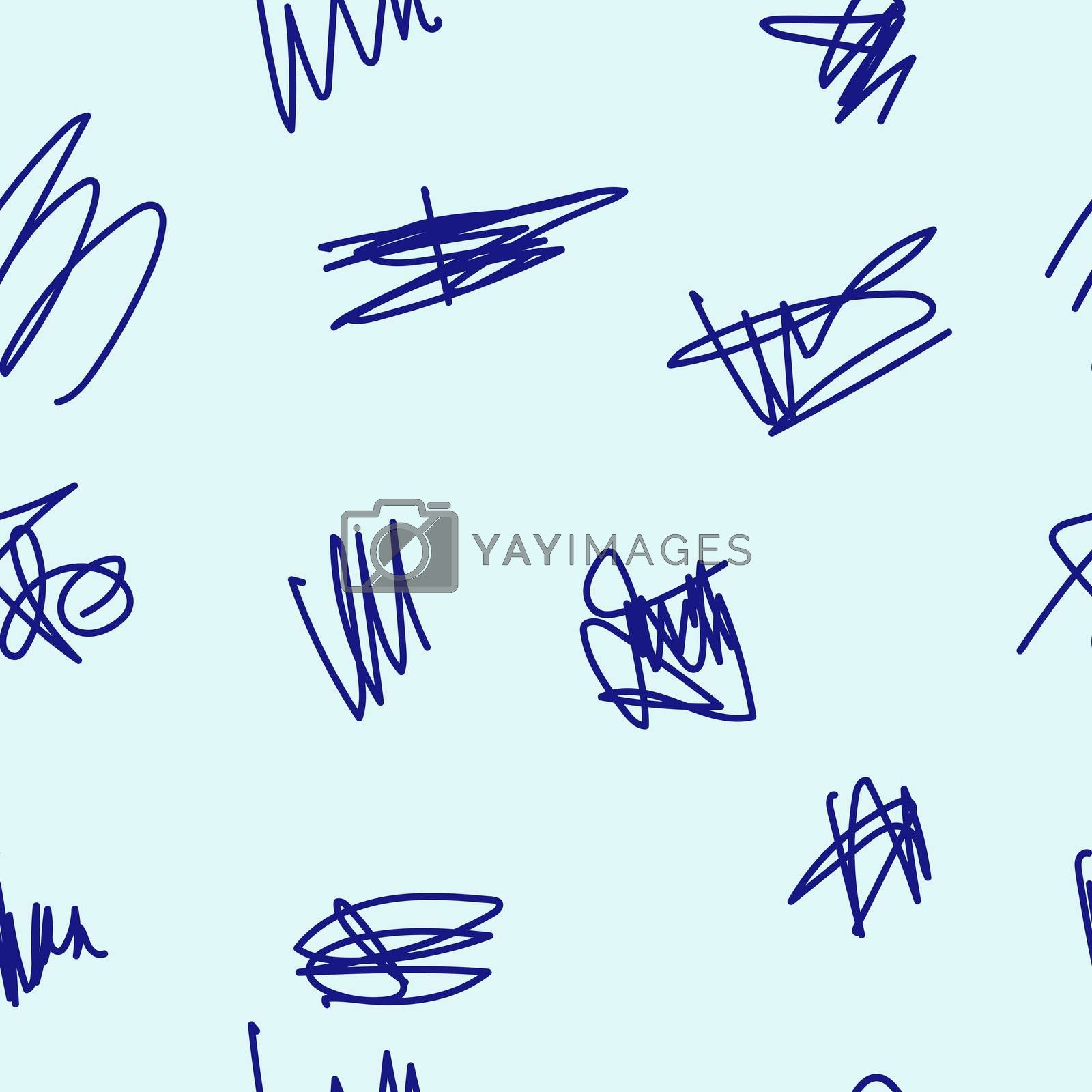 Seamless pattern of hand drawn doodle shapes, design elements. The scribble of a gel pen