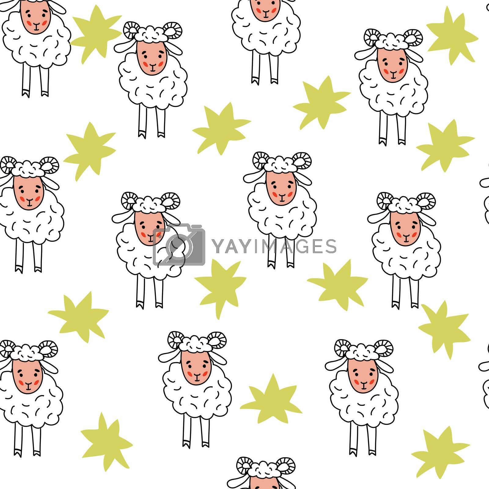 Seamless pattern of lamb. Background of rams. Illustration for textiles and wallpaper.