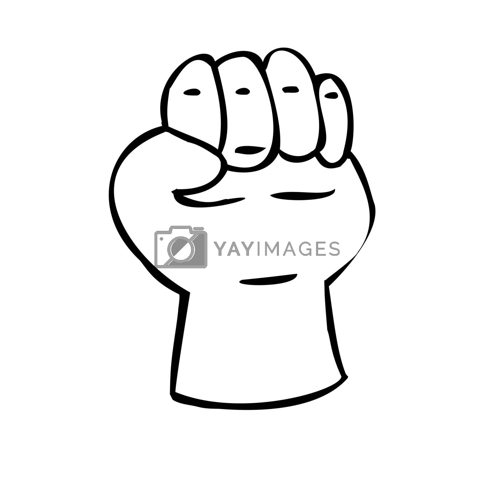 Hand clenched into a fist. Gesture of strength. Illustration in sketch style. Hand drawn vector illustrations