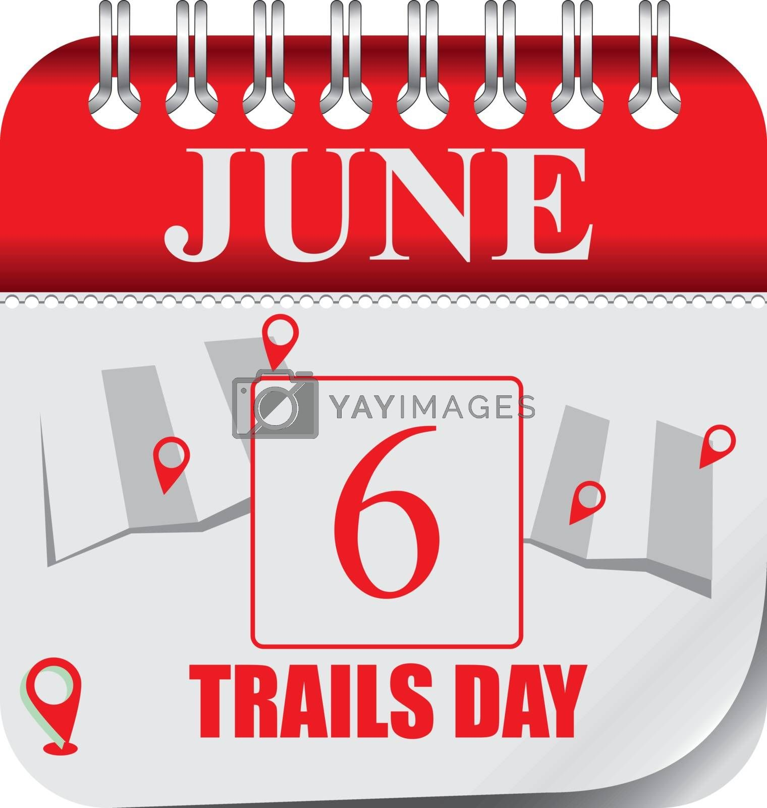 Calendar with perforation for changing dates - june Trails Day