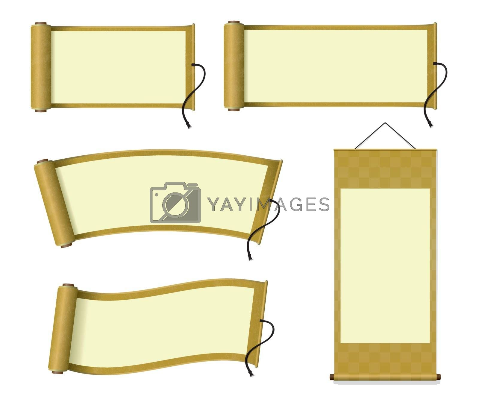 Royalty free image of Japanese scroll paper / hanging scroll illustration set by barks