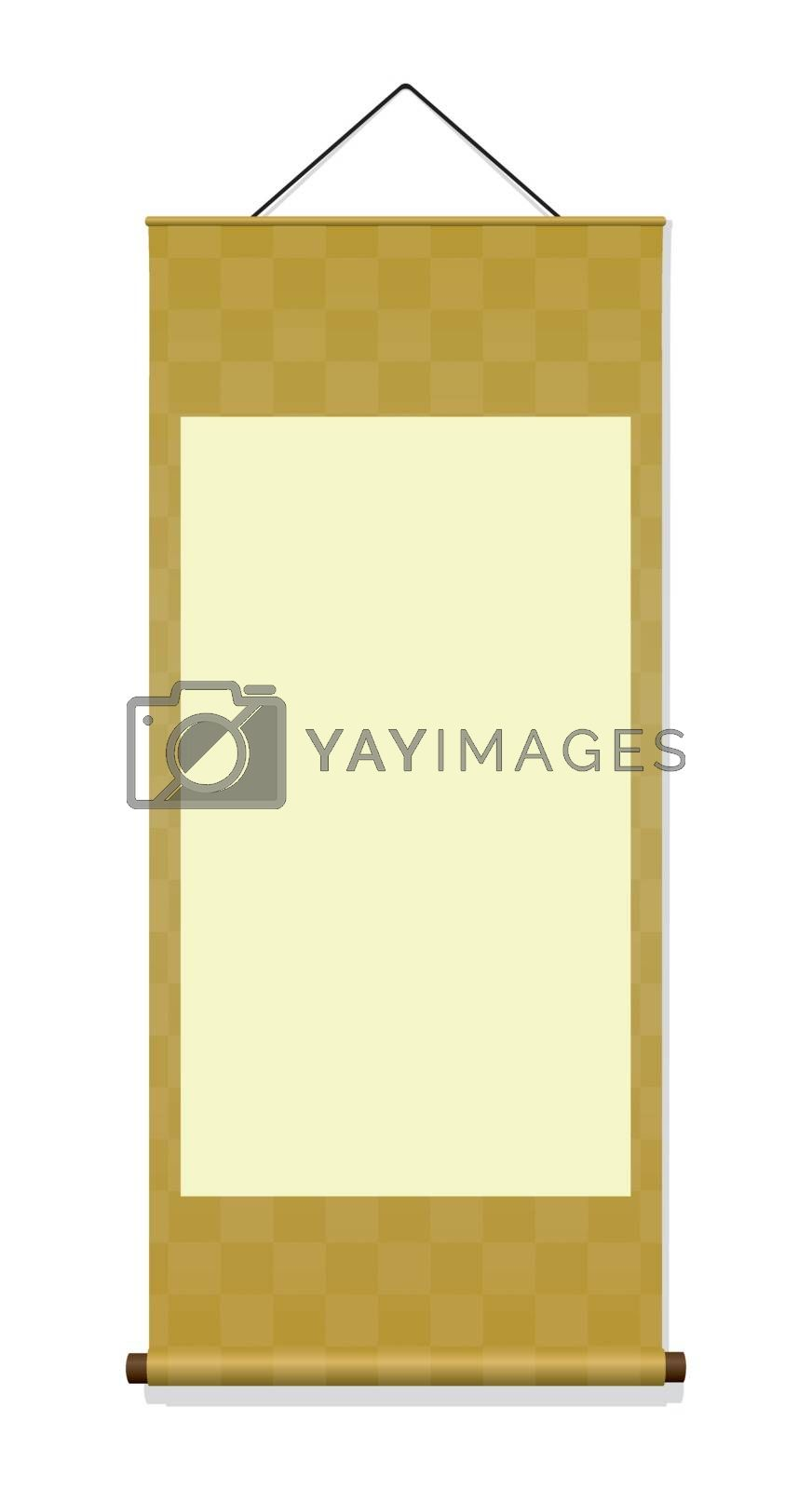Japanese hanging scroll illustration (gold)