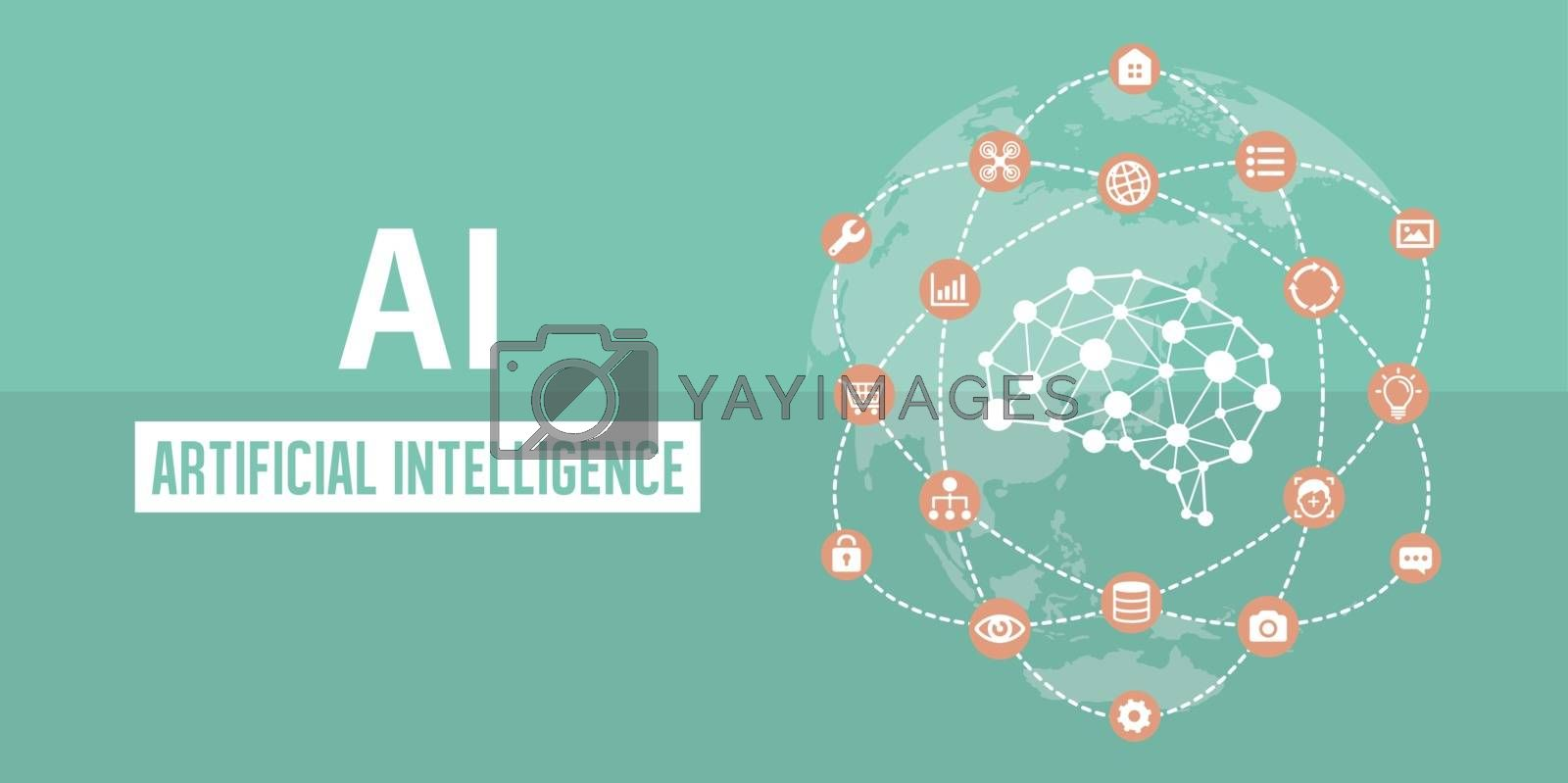 Royalty free image of AI ( artificial intelligence ) image banner illustration. by barks
