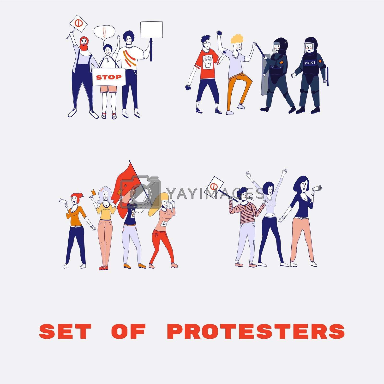 Big set of protesting people holding banners and placards. Men and women characters on political meeting, parade or rally. Group of male and female protesters or activists. . cartoon line illustration