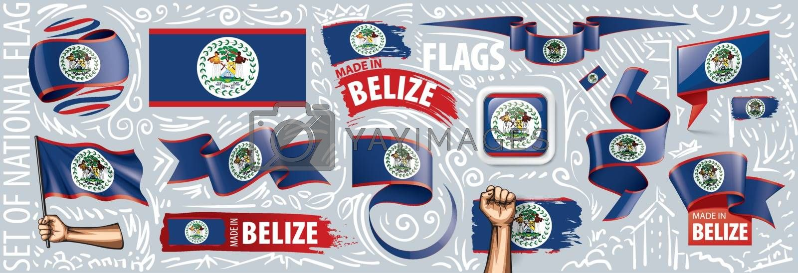 Vector set of the national flag of Belize in various creative designs.
