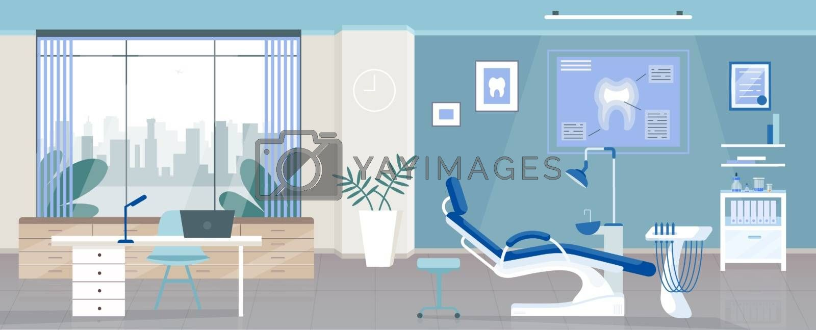 Dental room flat color vector illustration. Stomatology clinic, dentist office 2D cartoon interior design with orthodontic appliances on background. Odontology hospital, stomatologist workplace decor