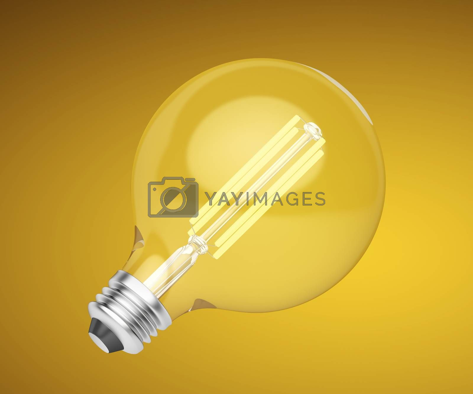 Bright LED light bulb on warm background