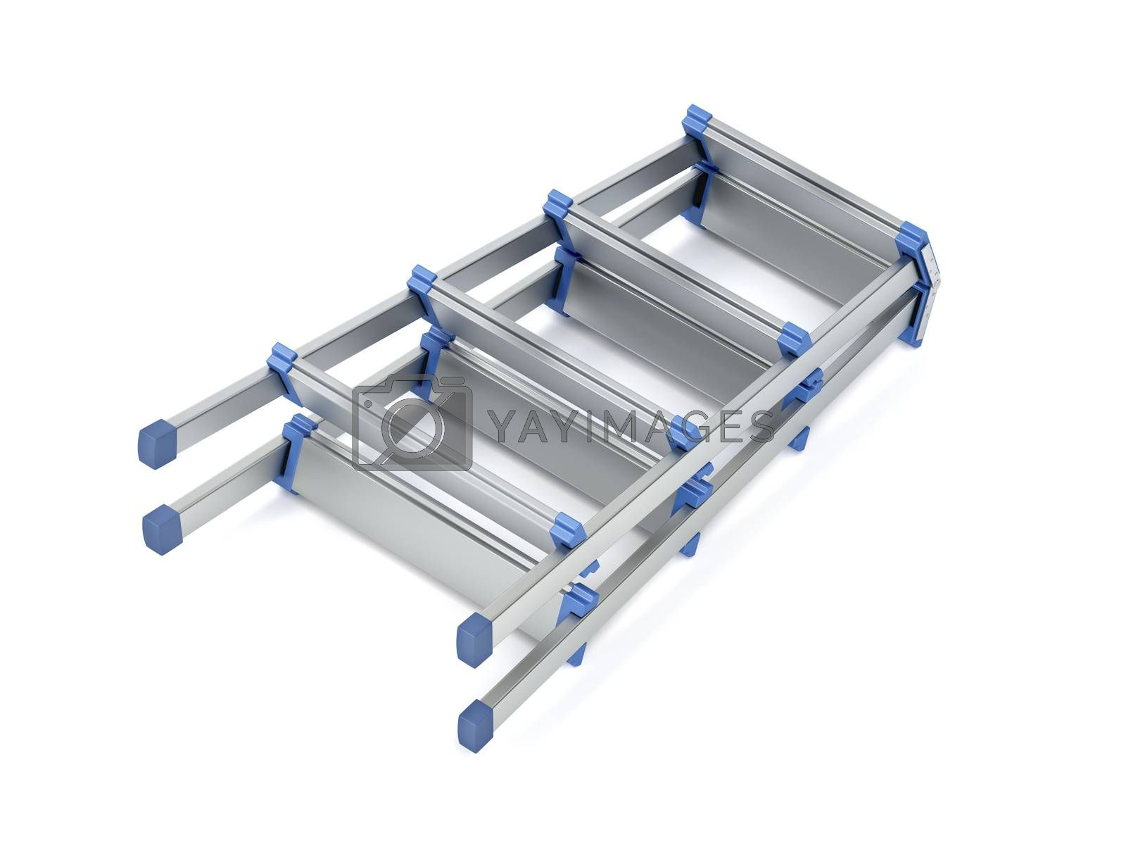 Foldable aluminum stepladder on white background