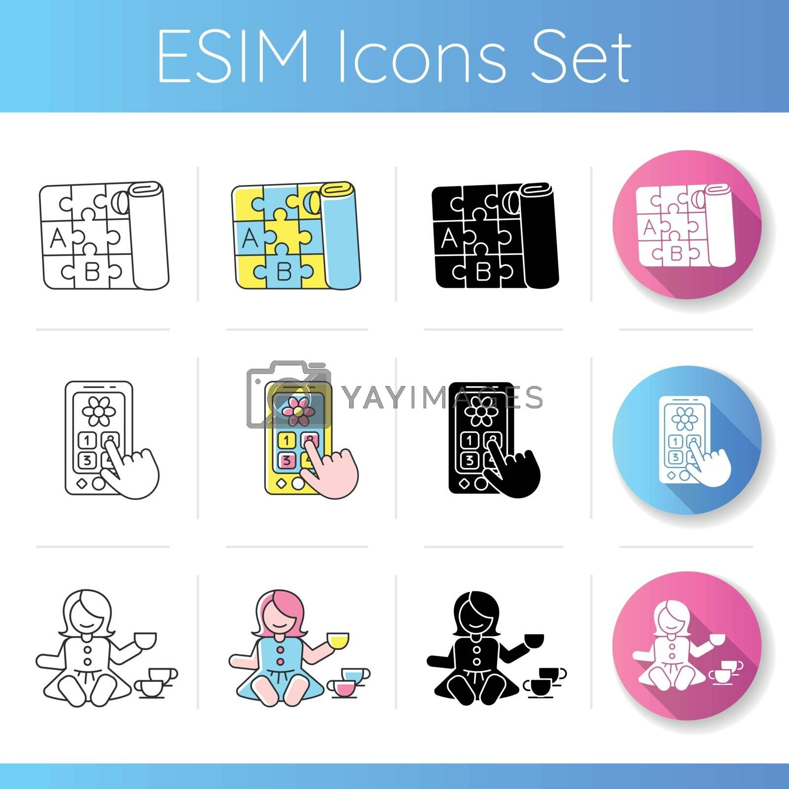 Toddler toys icons set by bsd