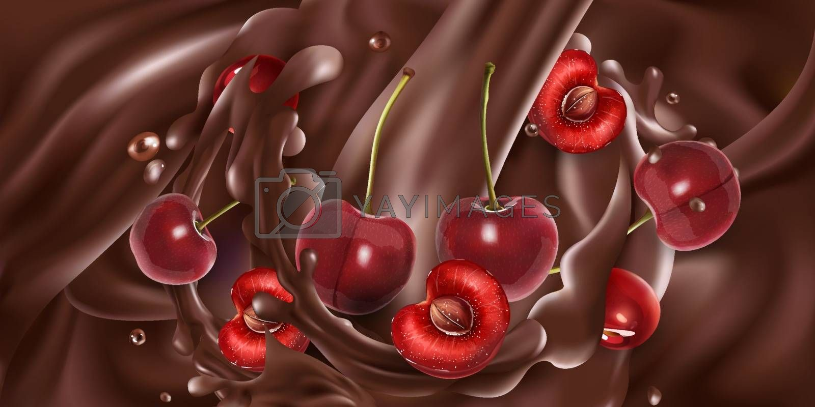 Fresh cherries are added to liquid chocolate. Realistic vector illustration.