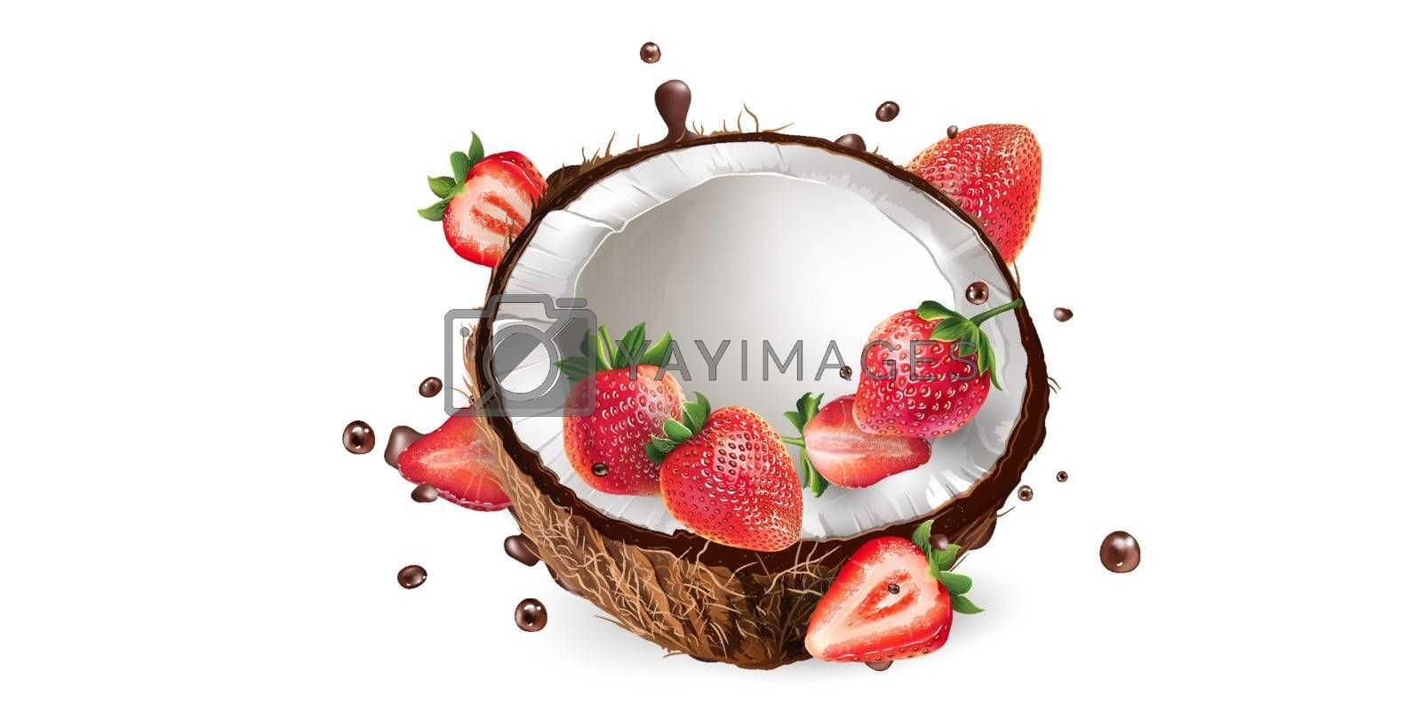 Fresh coconut with strawberries in chocolate splashes on a white background. Realistic vector illustration.
