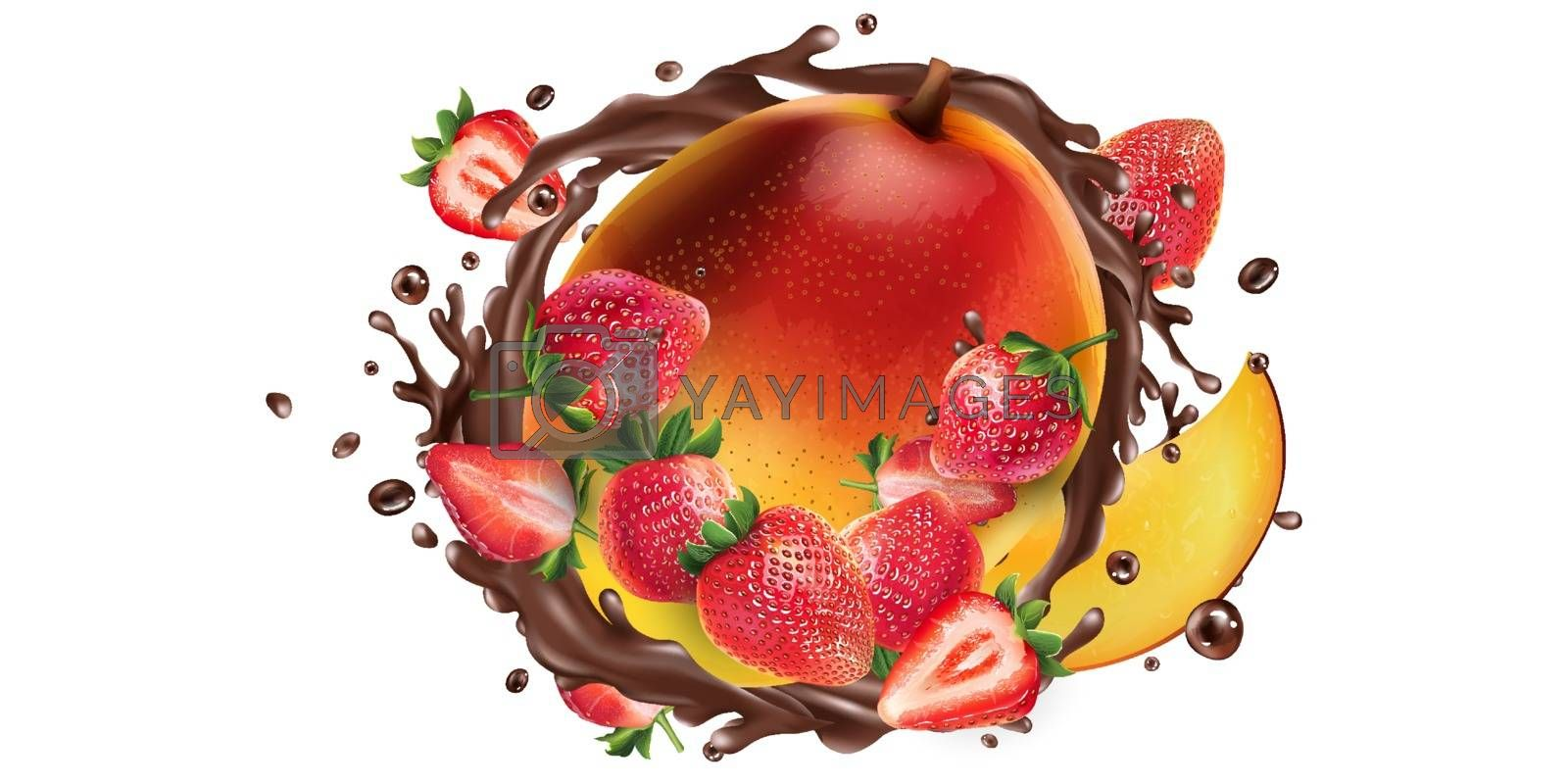 Fresh mango with strawberries and a splash of liquid chocolate on a white background. Realistic vector illustration.