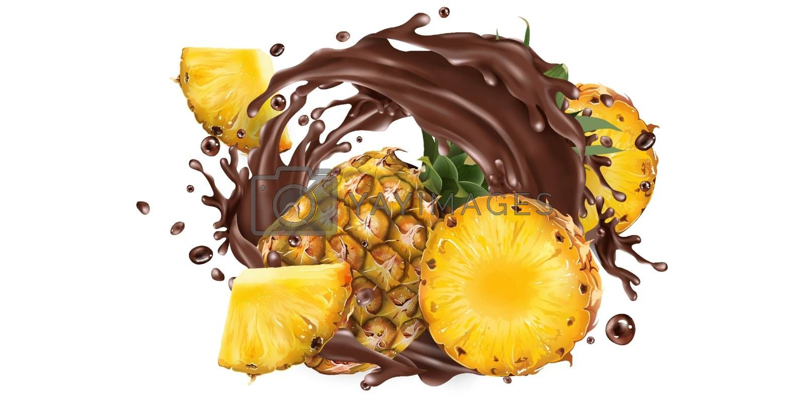 Fresh pineapples and a splash of liquid chocolate on a white background. Realistic vector illustration.