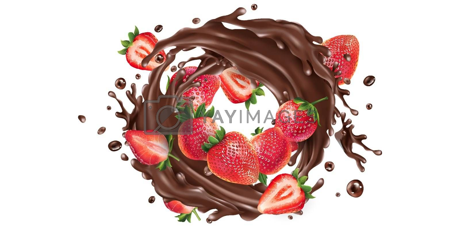 Fresh strawberries and a splash of liquid chocolate on a white background. Realistic vector illustration.