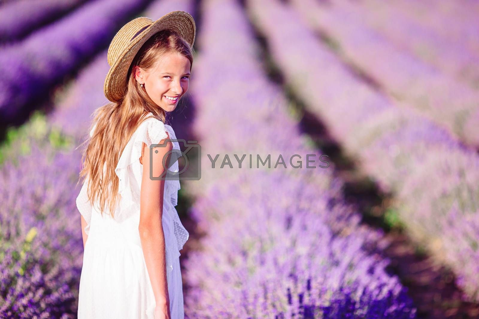 Little adorable girl in lavender flowers field in white dress and hat