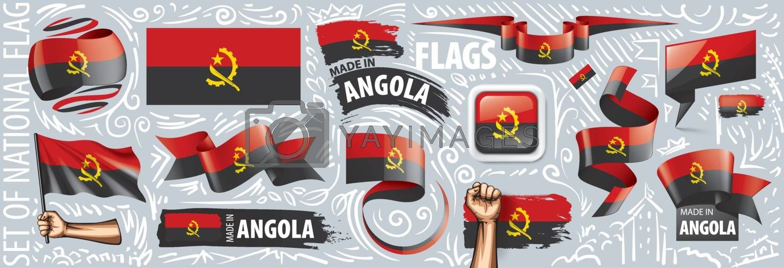 Vector set of the national flag of Angola in various creative designs.