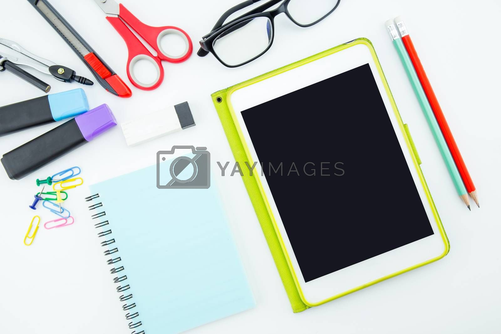 school supplies, stationery accessories on white background, Flat lay, top view.